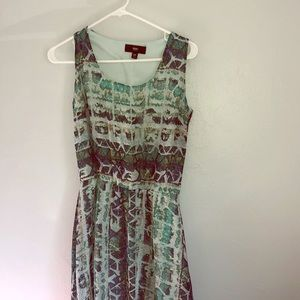 Mossimo • Green Blue Abstract High Low Dress